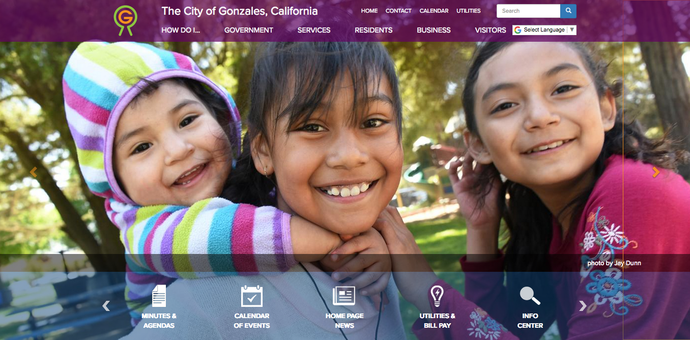 Screen shot of top navigation of site, three girls smiling outside, home page quick links