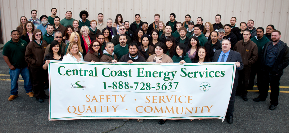 Photo: Central Coast Energy Services team holding banner