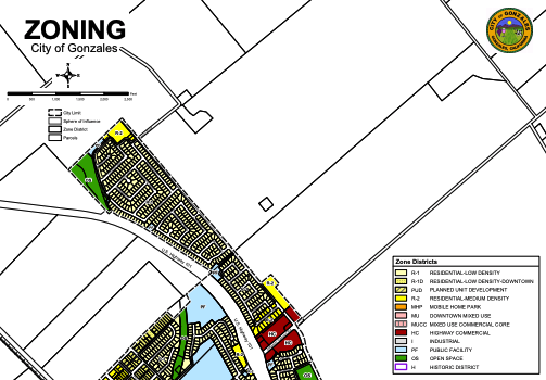 Partial map of Gonzales City zoning