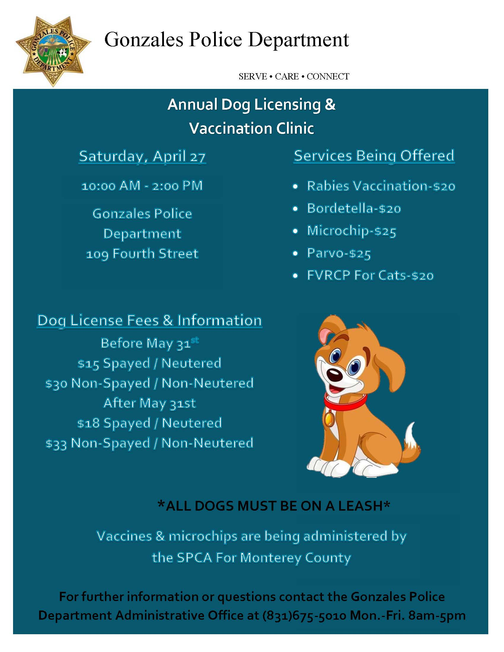 Annual Dog Licensing & Vaccination Clinic 2019