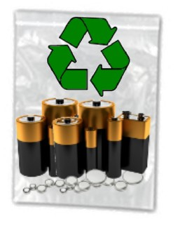 Household Batteries in a bag for recycling