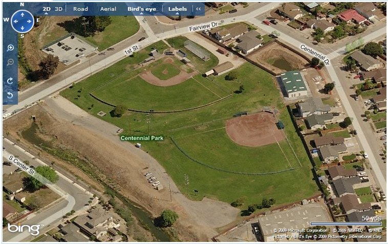 sky view of centennial park baseball fields