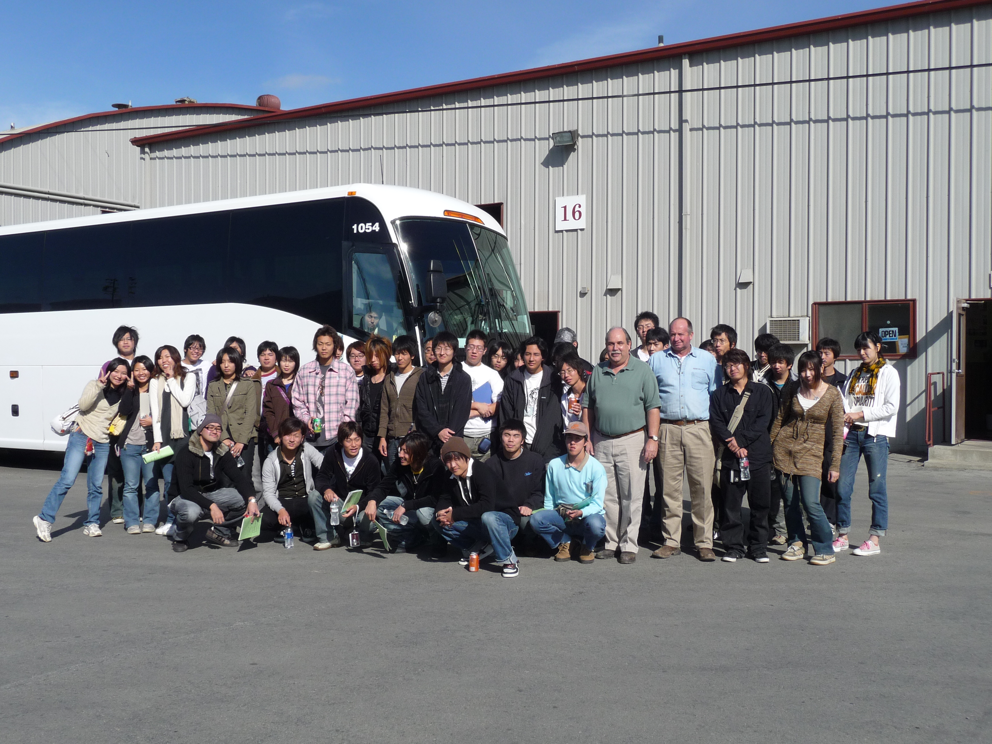 Bus of Japanese agricultural businessmen visiting Healthy Soil in Gonzales