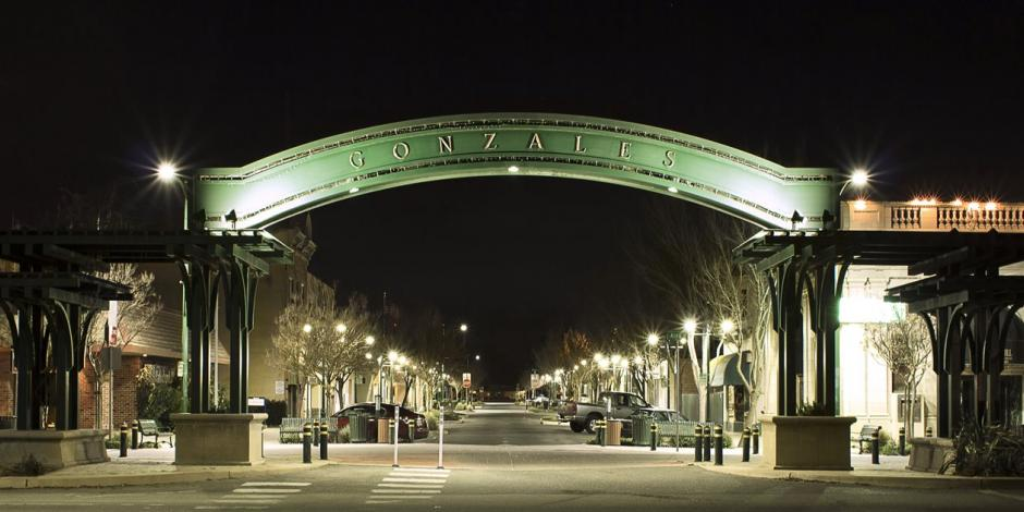 Gonzales Arch at Night over 4th Street