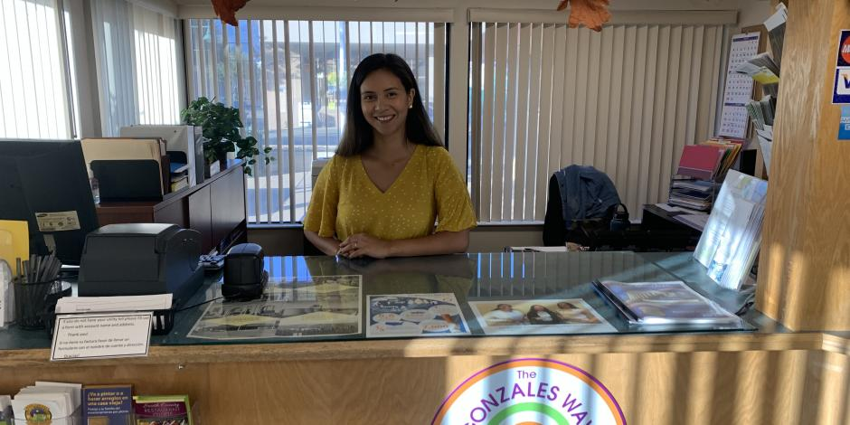 Alejandra at the front counter