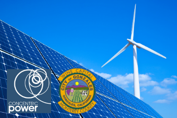 Photo: Concentric Power Logo, City of Gonzales Logo, Solar, Wind Turbine
