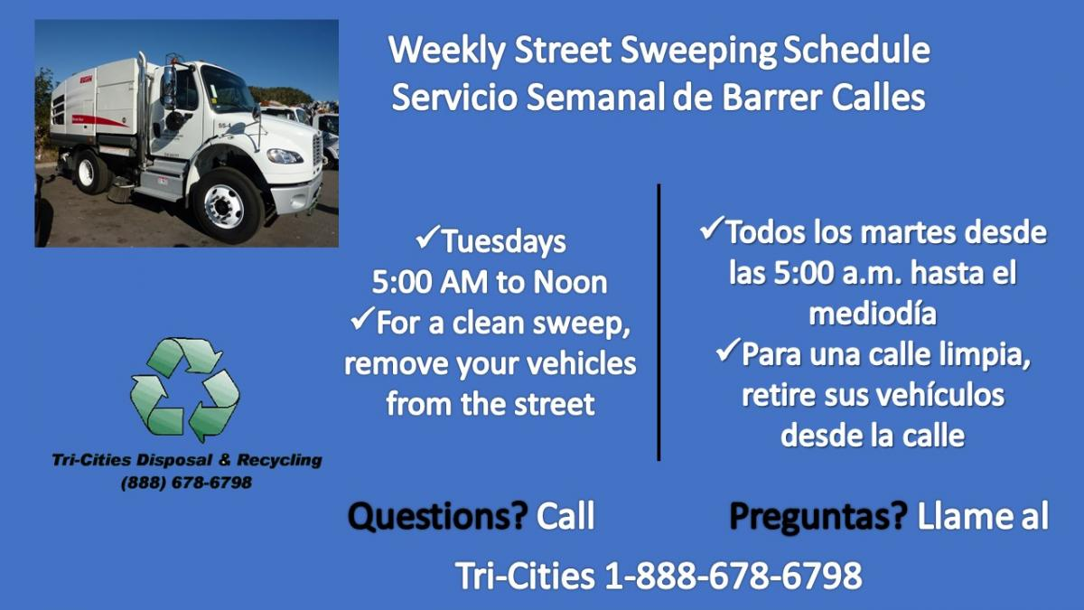 Weekly Street Sweeping Tues/martes, 5am-12pm,