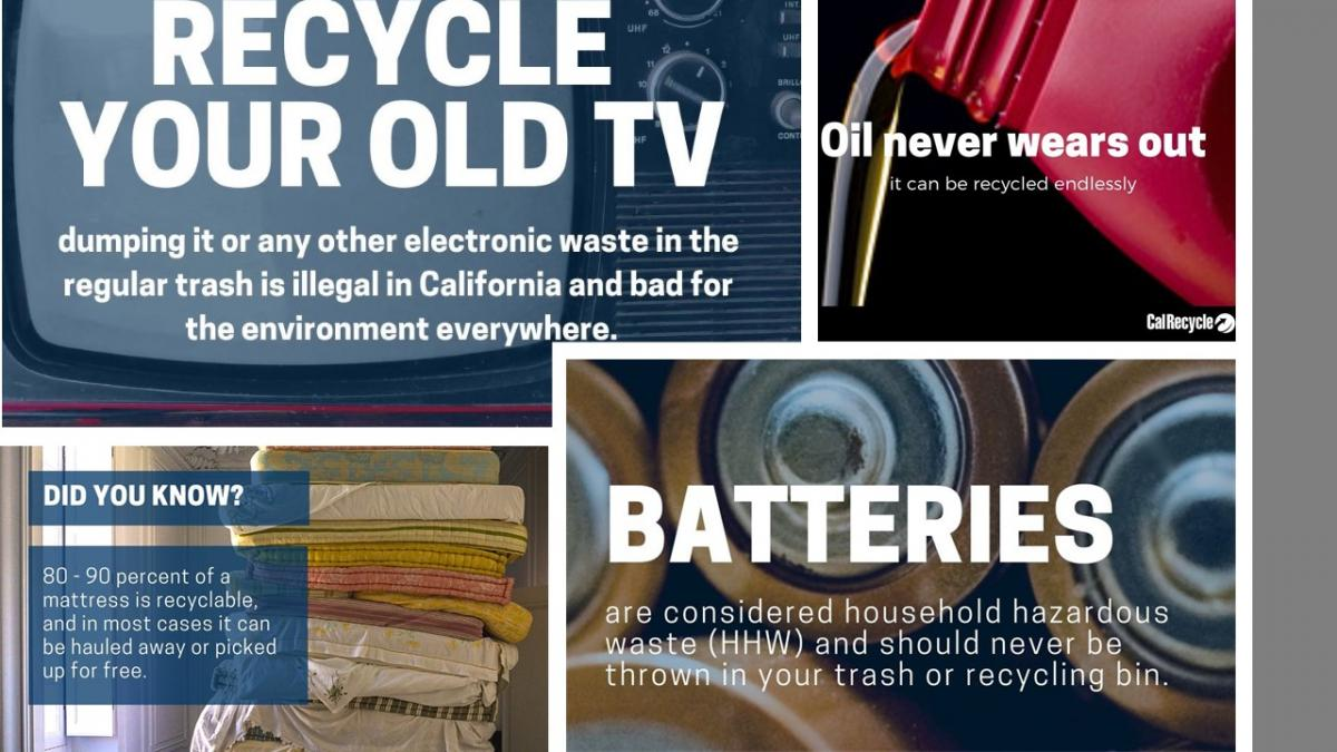 Recycle your old tv, batteries, mattress, and oil