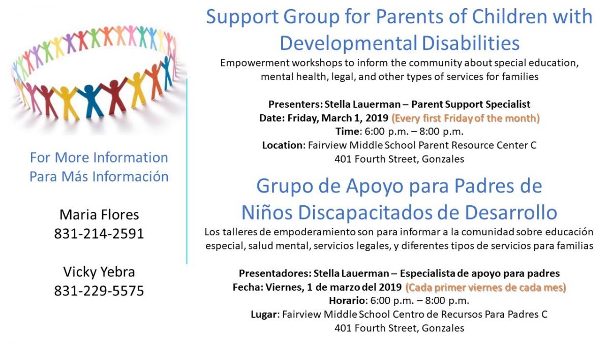 Support Groups for parents of children with developmental disabilities, first Friday of every month, 6pm at FMS