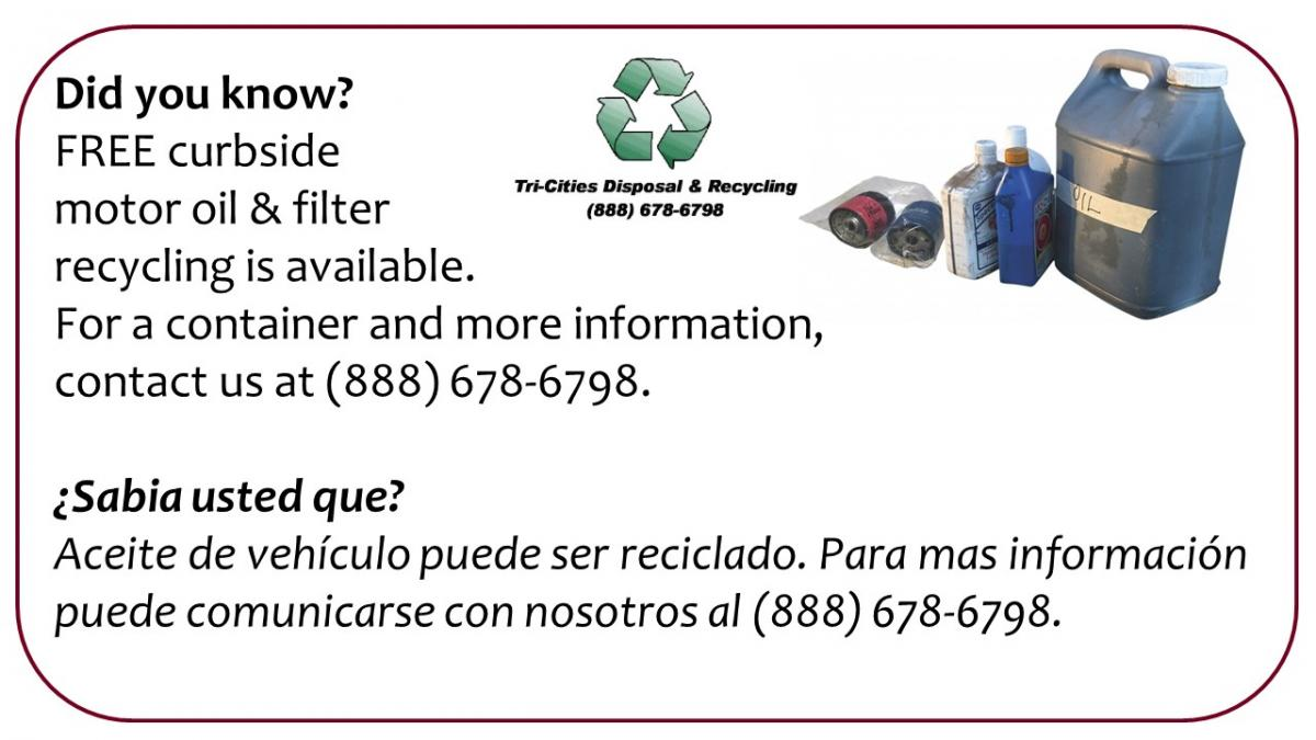 Curbside Oil and Filter Recycling, call 888-678-6798