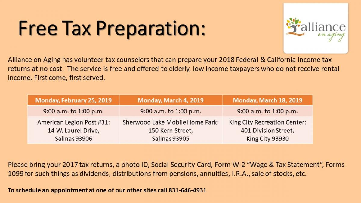 Free Tax Prep, March 18, 9am-1pm, King City Rec Center