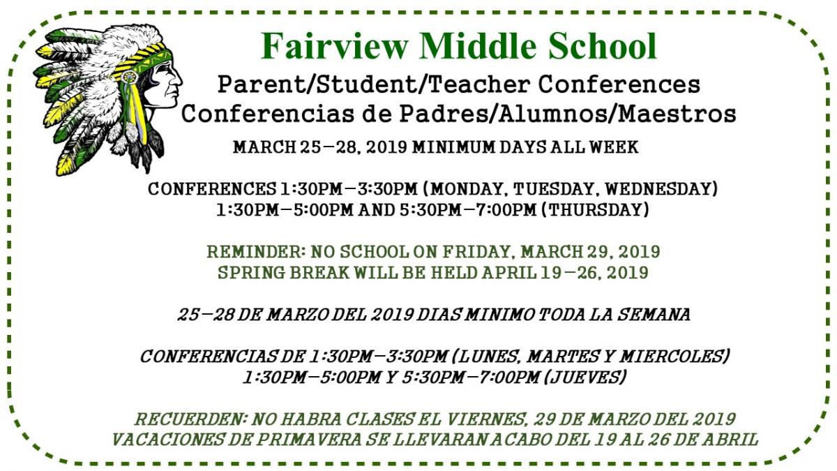 Fairview Middle parent/student/teacher conference are March 25-28