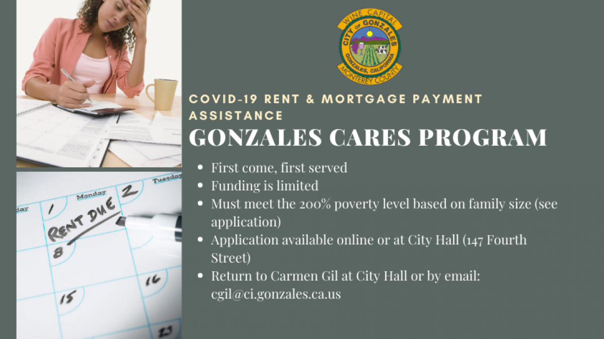 Gonzales Cares Program Photos: Woman Paying Bills, Calendar, City of Gonzales Seal
