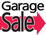 Garage Sale and arrow pointing to right