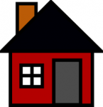 icon of simple red house with triangle roof