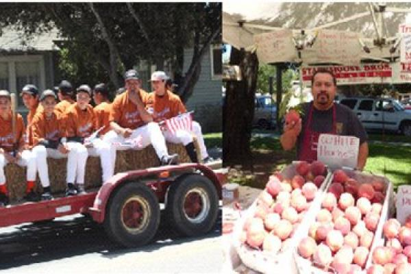 montage of Gonzales living: youth, baseball team on fire-truck, farmers market, senior citizens by eagle statue